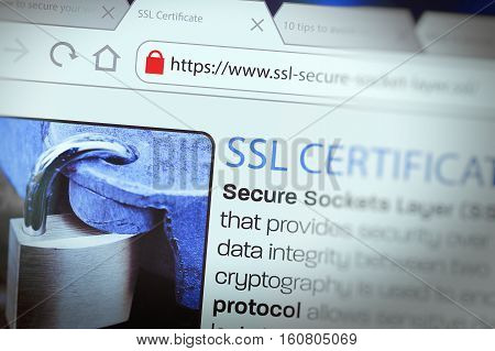 Close-up of a browser window showing lock icon during SSL connection