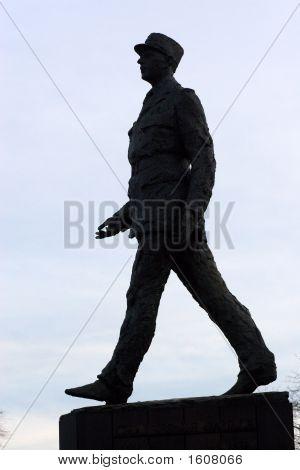 Statue of General De Gaulle walking on