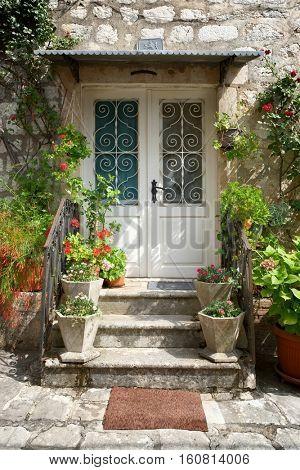 entrance door old style in Perast, Montenegro