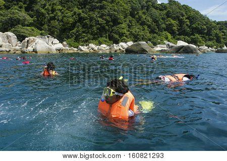 TERENGGANU MALAYSIA - JUNE 17 2008 : Tourist enjoy snorkeling at Perhentian Island Terengganu Malaysia.