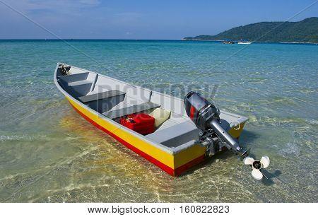Boat at Perhentian Kecil Island beach Terengganu Malaysia.