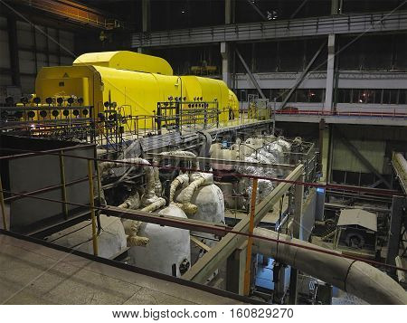 Steam Turbine During Repair, Machinery, Pipes, Tubes At A Power Plant