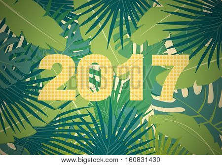 Abstract flat background with colorful palm leaves greenery and new 2017 year yellow dots inscription in vignetting
