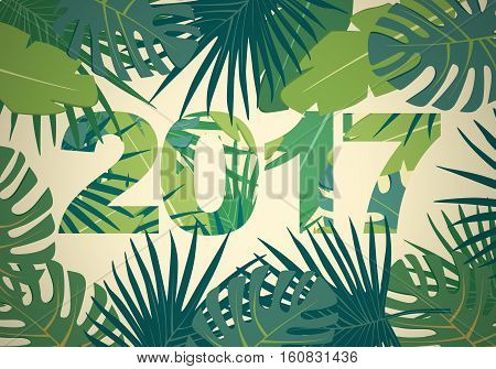 Abstract flat background with colorful palm leaves greenery and new 2017 year of ecology inscription
