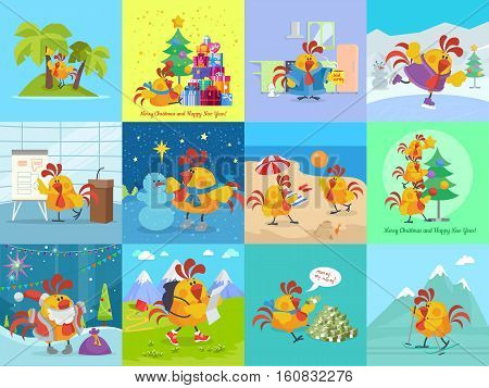 Rooster bird adventures set. Collection of greeting cards with cock. Chinese calendar zodiac horoscope. Chicken character collection in flat. New year xmas greeting card. Vector illustration