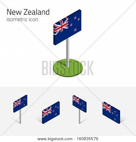 Flag of New Zealand vector set of isometric flat icons 3D style different views. 100% editable design elements for banner website presentation infographic poster map card collage. Eps 10