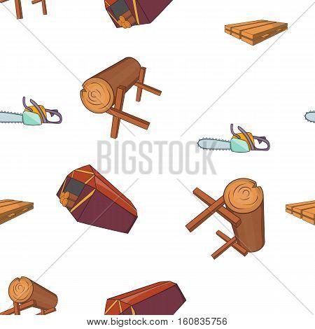 Sawmil and timber pattern. Cartoon illustration of sawmil and timber vector pattern for web