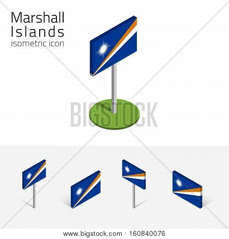 Republic of the Marshall Islands flag vector set of isometric flat icons 3D style different views. 100% editable design elements for banner website presentation infographic poster map. Eps 10
