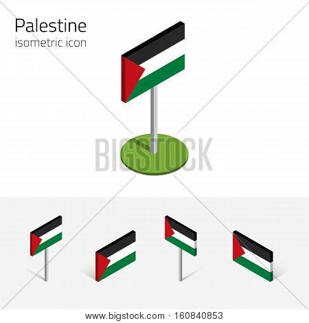 Palestinian flag (State of Palestine) vector set of isometric flat icons 3D style different views. 100% editable design elements for banner website presentation infographic poster map. Eps 10