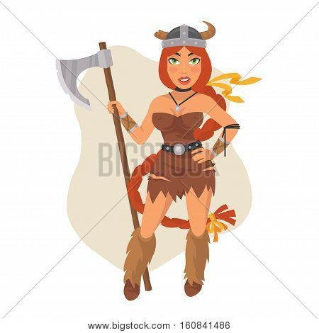 Vector Illustration, Viking Girl Holds Axe, Format EPS 8
