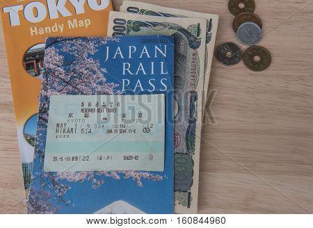 TOKYO, JAPAN - MAY 1 2016: JR Ticket Japan rail pass ,  Popular Japanese shinkansen high-speed rail convenient time.