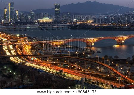 Night View Of Seongsan Bridge And Yeouido