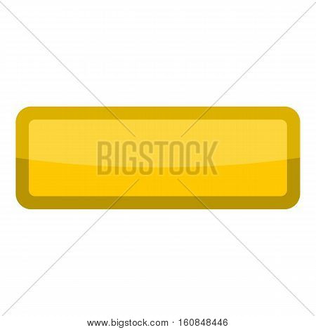 Yellow rectangle button icon. Cartoon illustration of yellow rectangle button vector icon for web