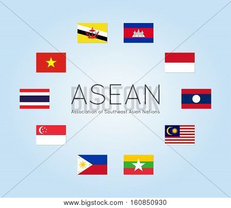Vector illustration of ASEAN countries flags (Members of Association of Southeast Asian Nations). Clean flat style. Editable design elements for banner website presentation infographic map. Eps 10