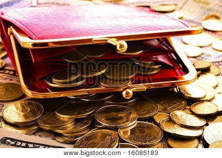 Red woman wallet and gold coins