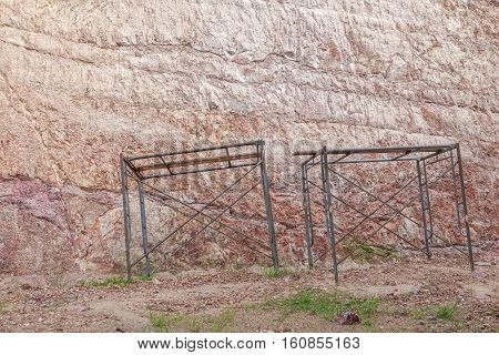 scaffolding set close Stone cliff mountain texture
