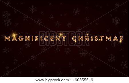 Magnificent Christmas. Golden Glitter Greeting Card. Luxurious Design Element, Vector Illustration.