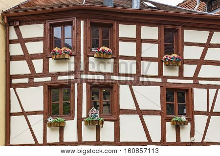 Old Traditional Colorful Half-timbered Houses In Colmar, France