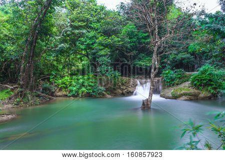 Graenggravia Waterfall Sangkhlaburi District Kanchanaburi Province Thailand.