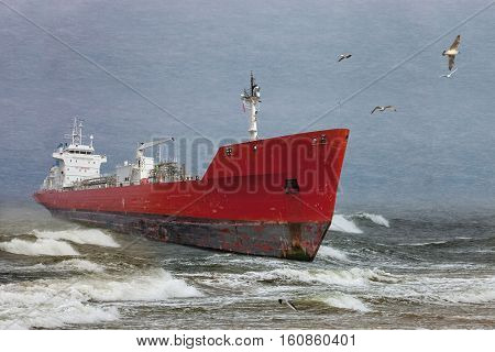 Oil tanker in