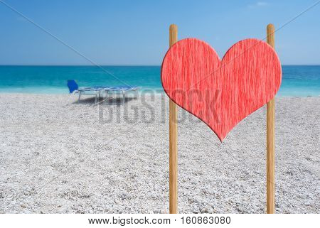 love concept: a view of relax signal in a beautiful beach on valentine's day