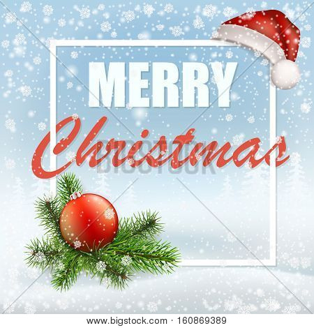 Christmas greeting card with Santa cap, frame and fir tree branches in white frame on winter landscape background. Snowflakes in the foreground.