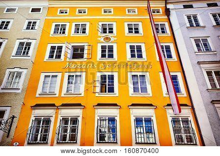 Birth House Of Wolfgang Amadeus Mozart In Salzburg, Austria. Ins