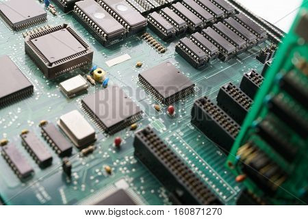 Electronic circuit board. Computer hardware technology. Motherboard digital chip