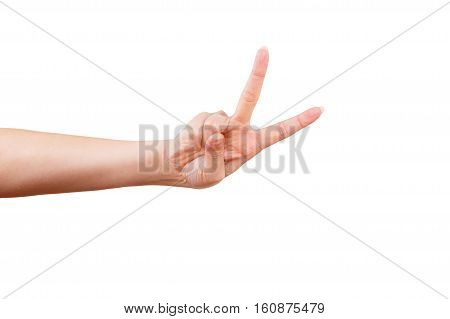 Female hand showing thumb up ok all right victory hand sign gesture. Gestures and signs. Body language on white background