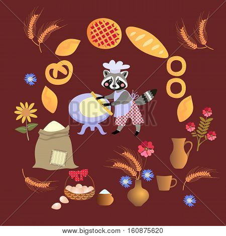 Cute cartoon raccoon baker with dough and rolling pin. Card poster. Frame made of wheat sunflowers bouquet of cornflowers muffins pies cakes.