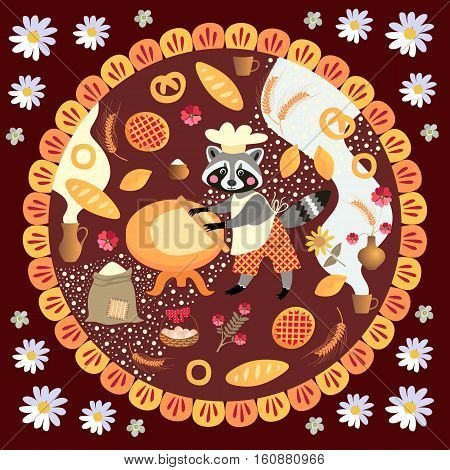 Cute square card with raccoon baker and bakery products. Vector illustration. Packaging design. Book illustration.
