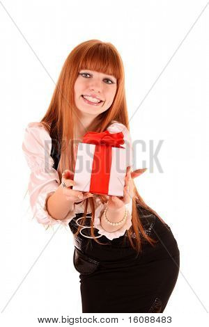 Smiling business woman with gift box  isolated on white background