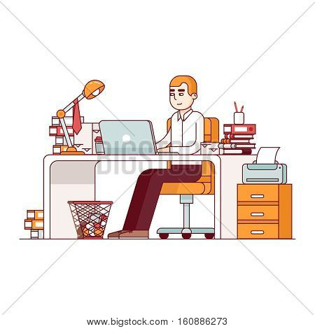 Business man entrepreneur in a suit working at his office desk. Overworked employee doing lots of paperwork. Modern flat style thin line vector illustration. Concept isolated on white background.