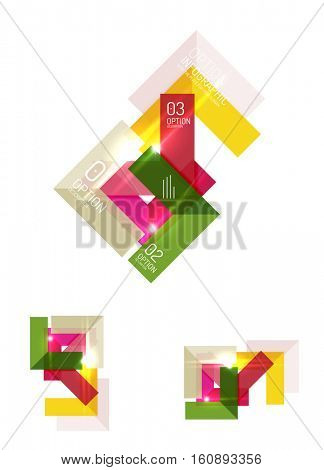 Paper infographic elements for business background, presentation or message with options and buttons