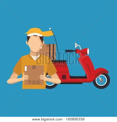Box motorcycle cand man icon. Delivery shipping and logistics theme. Vector illustration