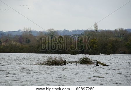 Burrowbridge ENGLAND UK - Jan 31, 2014: General view of the village of Burrowbridge on the Somerset Levels - which has suffered floods in the surrounding fields after Atlantic storms brought high levels of rain in December 2013 and January and February 20