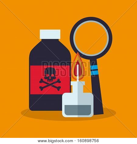 Poison bottle and lupe icon. laboratory science chemistry and research theme. Colorful design. Vector illustration