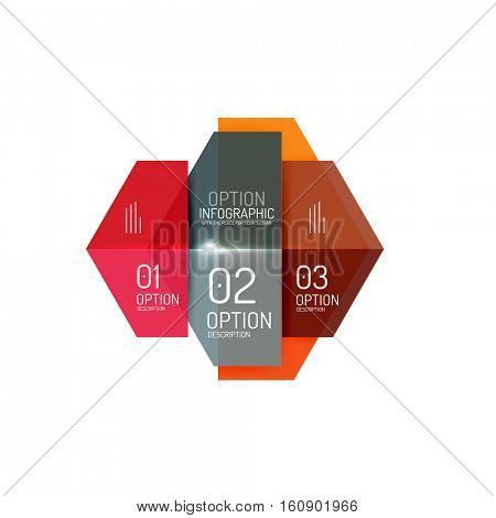 Paper geometric abstract infographic layouts. Vector business templates