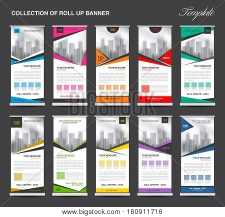 Collection of Roll Up Banner Design stand template, flyers design, advertisement, display layout, pull up, x-banner and flag-banner
