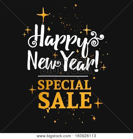 Template design banner for Christmas sales. Happy new year special offer at a discount. Poster lettering for xmas discounts with the decor of gold and curls. Black background. Vector