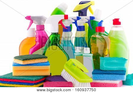 Cleaning supplies isolated on white background, horizontal picture.