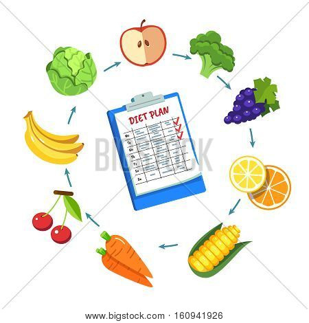 Diet plan schedule. Planning dieting meals for a week with paper on clipboard. Modern flat style vector illustration isolated on white background.