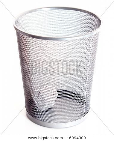Garbage bin with paper isolated on white background