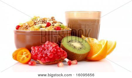 Yoghurt, muesli, milk and fruits isolated on white