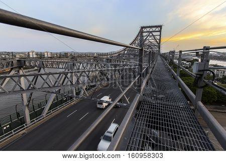 Looking across Brisbane Story Bridge span on the walkway above the bridge, view of the southern side of the bridge