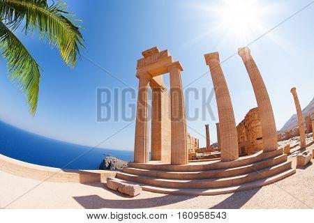 Lindos Acropolis' main staircase of the propylaea, Rhodes, Greece