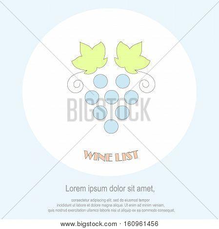 Wine list restaurant menu template. Line style, blue grape bunch green leaf, Lorem ipsum on white. Perfect wine design element stock vector illustration