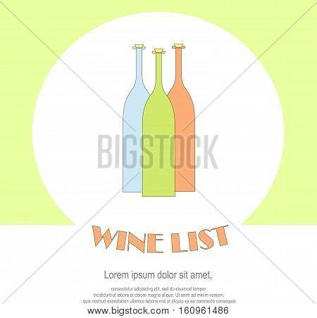 Wine list restaurant menu templates. Line style green, blue, red, bottles, Lorem ipsum on white. Perfect wine design element stock vector illustration