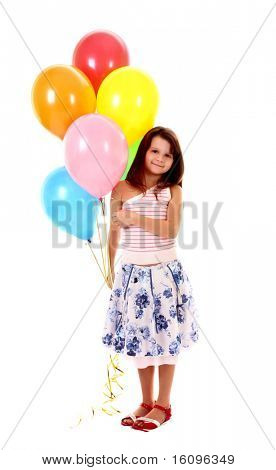 little girl holding a bunch of happy flying balls on white background