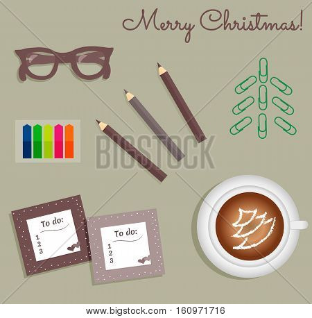 Stationery:To Do Lists with a cute polka dots and little hearts.Multi-colored stiсkers. Cup with coffee on saucer.Burgundy glasses.Pencils.Staples in the form of a Christmas tree.Vector illustration